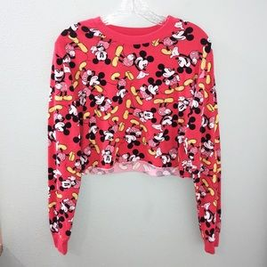 Disney Mickey Mouse Red Crop Top Long Sleeve